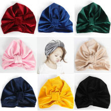 Baby Girls Turban Knot Head Wrap Cute Kids Rabbit Ear Hat Bunny Ear Velvet Cap(China)