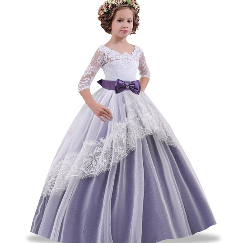 Elegant girl's first communion dinner banquet dress 2019 long seven point sleeve Butterfly Wedding Dress Wedding Dress
