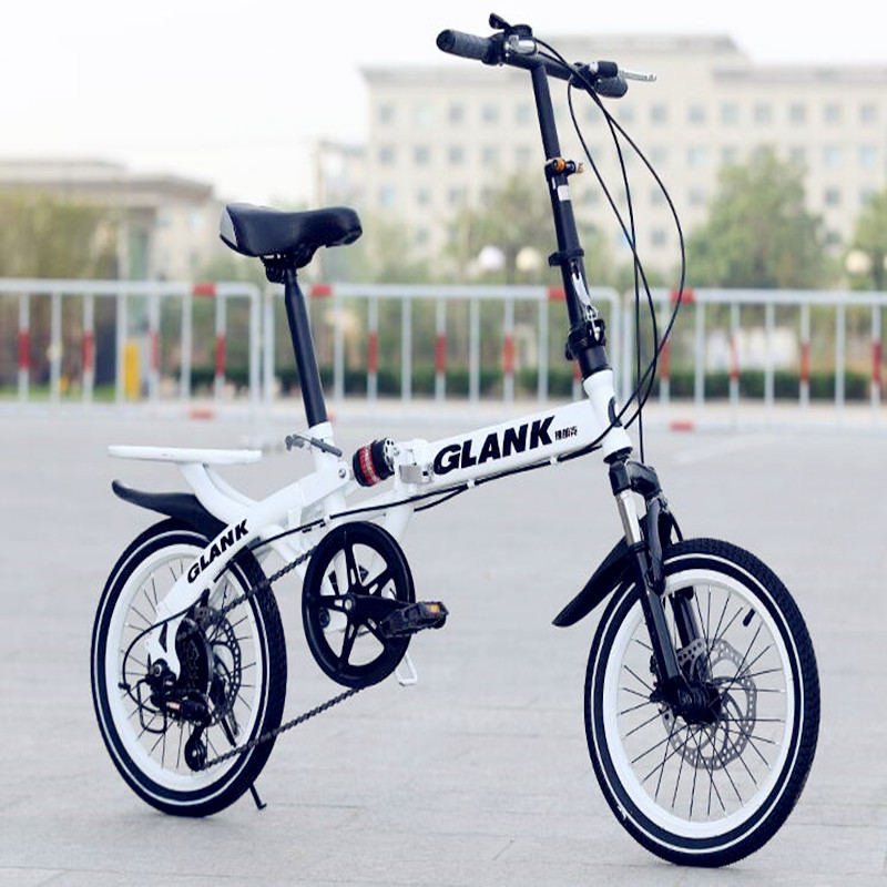 2019 new 16 inch 10 seconds fast folding bicycle variable 6 speed shift disc brake front and rear shock absorber bicycle