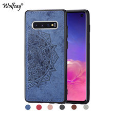 For Samsung Galaxy S10 Shockproof Soft TPU Cloth Texture Hard Back Phone Case Cover Shell