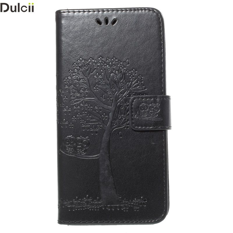 Dulcii Phone Case for Galaxy A8+ 2018 Bag Imprint Tree Owl Magnetic Wallet PU Leather Stand Case for Samsung Galaxy A8Plus Cover