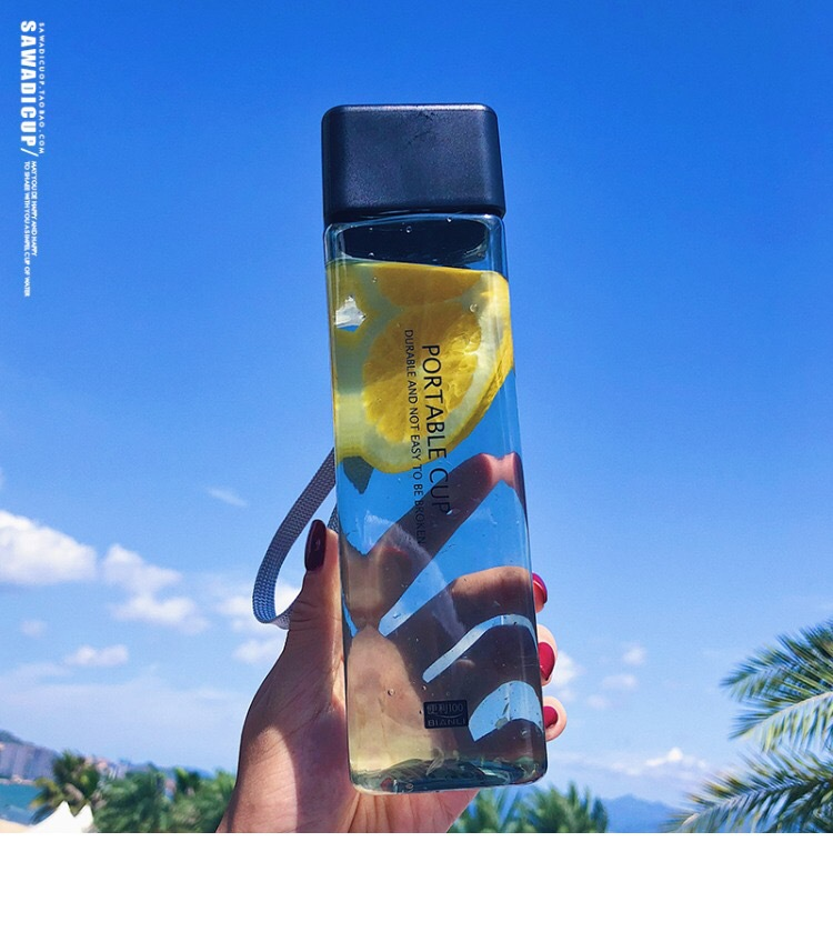 Square Water //Tea// Milk// Fruit  Cup  for Water Bottles drink with Rope,500ml