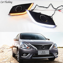 Xe Ô Tô Nhấp Nháy 2 Chiếc Dành Cho Xe Nissan Almera Latio Nắng Versa 2014 2015 2016 2017 2018 DRL Đèn Chạy Ban Ngày sương Mù Đèn Đội Đầu