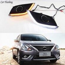 car Flashing 2pcs For Nissan Almera Latio Sunny Versa 2014 2015 2016 2017 2018 DRL Daytime Running Lights Daylight Fog Head Lamp