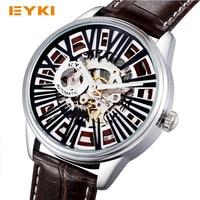 EYKI Steampunk Skelet Automatische Zelfoprollend Mechanische Horloge Lederen Romeinse Nummer Horloges Mannen Luxe Merk Horloge