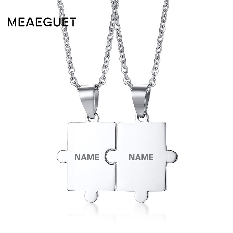 Meaeguet Free Engraving Puzzle Necklace Set For Best Friends Men Women Couple Stainless Steel Personalized Pendant Necklace Set personalized zippo lighter nfl oakland raiders free engraving