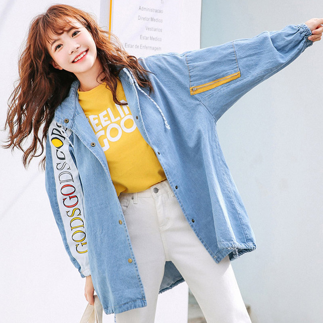 a4dc50e0d Spring New Fashion Denim Jacket Slim Full Sleeve Hooded Casual Korean Style  Jeans Jacket Casual Printed Denim Coat High Quality