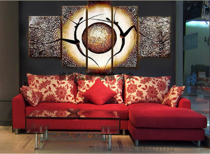 Hand Painted Modern Home Decorative 5 Pieces Canvas Art Oil ...