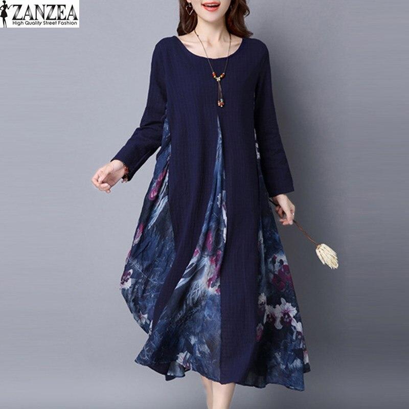 2018 ZANZEA Frühling Frauen Blumendruck Chiffon Splice Elegante Baumwolle Leinen Langarm Kaftan Partei Boho Lang Kleid Tunika M-5XL