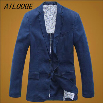 AILOOGE 2017 New arrival Spring Summer Men Thin Pure Cotton Linen Material Suit Leisure Jacket Single Breasted Fashion Size