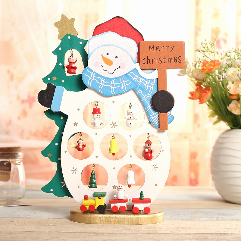 Gift 1pc mini table Decoration wood Christmas Snowman with ornament X'mas