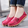 2017 New Genuine Leather Shoes Women Moccasins Mother Loafers Soft Leisure Flats Casual Flat Driving Shoes Plus Size 36-44 O1241