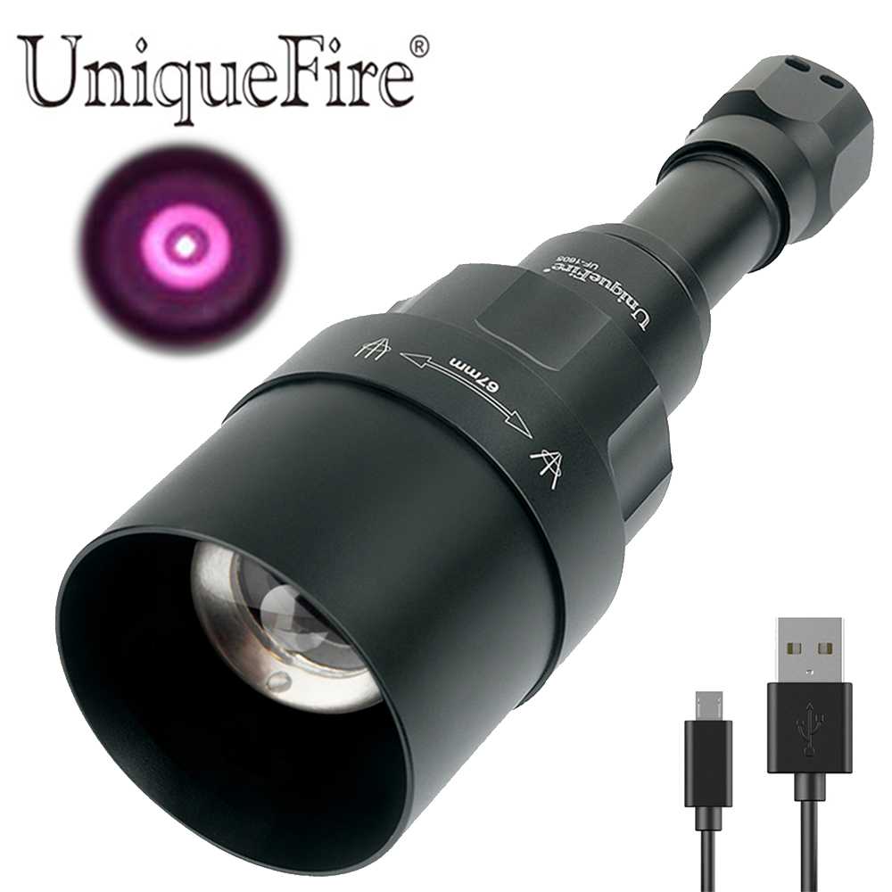 UniqueFire 1605 USB Rechargeable T67 IR 940nm LED Flashlight Infrared Light 67mm Convex Lens Night Vision Focus Adjustable TorchUniqueFire 1605 USB Rechargeable T67 IR 940nm LED Flashlight Infrared Light 67mm Convex Lens Night Vision Focus Adjustable Torch