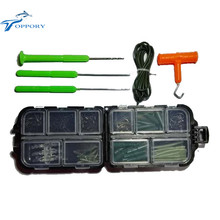 1 Set Assorted Carp Fishing accessories box needle tool hook sleeves quick change swivels for hair rig tackle combo box