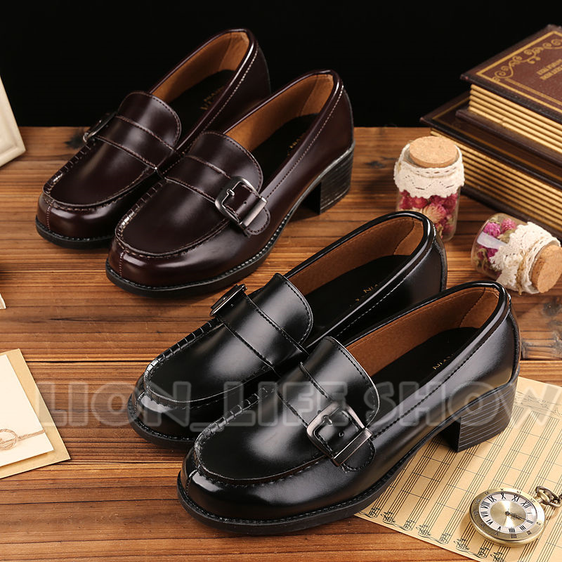 Universal Women Uniform Shoes Flat Low Heel Cosplay Japanese School Student Leather Buckle for Cosplay Uniform
