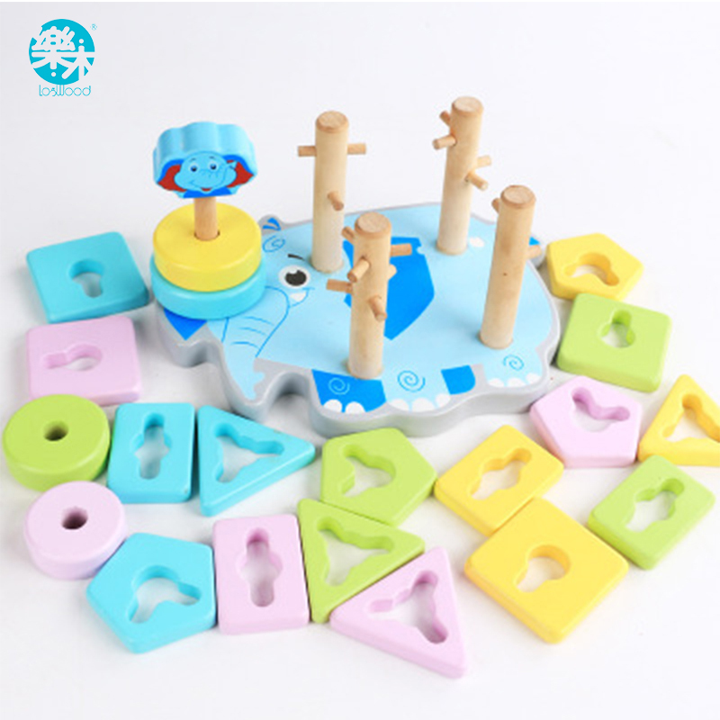 Logwood Wooden toys building blocks Wooden block Four columns Children monterssori develop baby's intelligence early Education montessori education wooden toys four color game color matching early child kids education learning toys building blocks