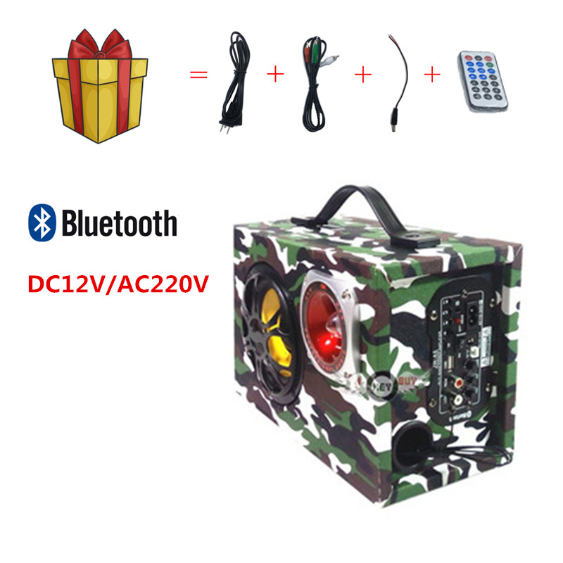 5inch Square Car Subwoofer 12V220V Handle Bluetooth Audio Remote Control Card U Disk Computer Desktop Green Camouflage Speaker image