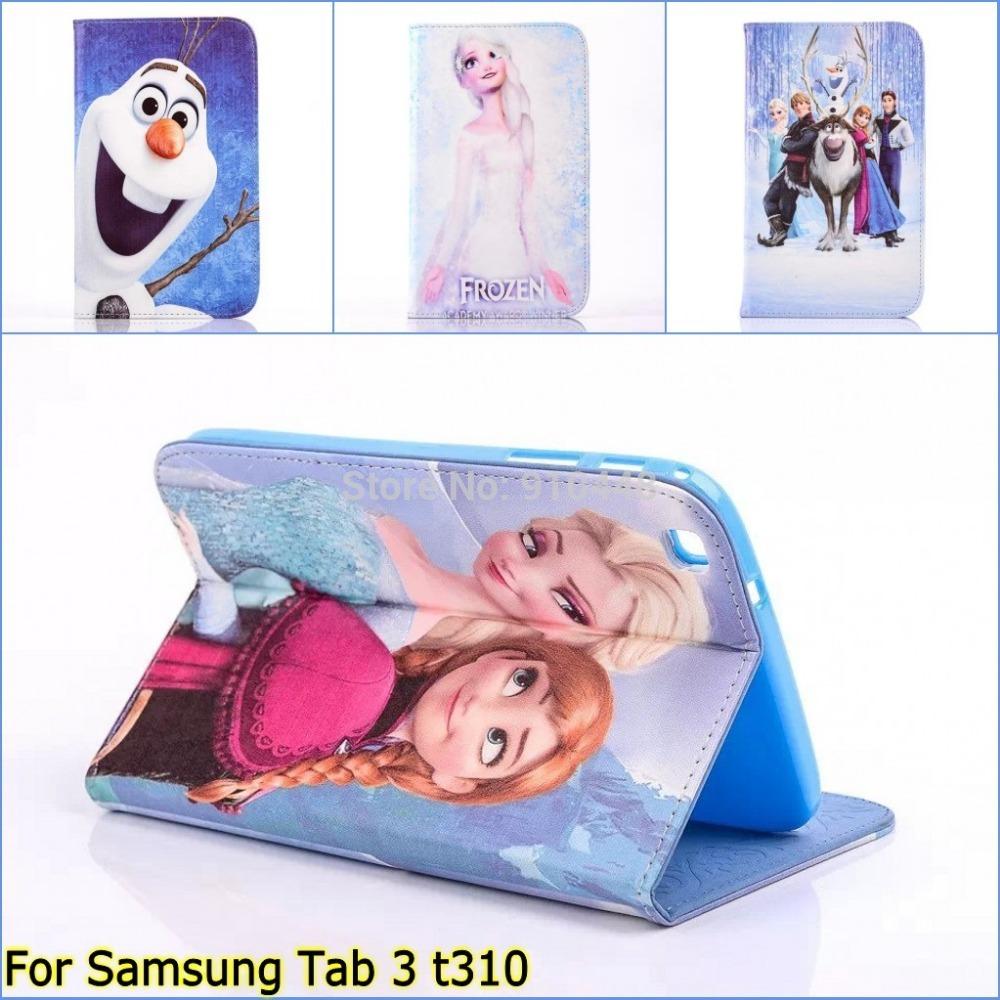 Fashion Cute Cartoon Anna pu leather Stand holder case cover for Samsung Galaxy Tab 3 8.0 tab3 t310 t311 with screen film