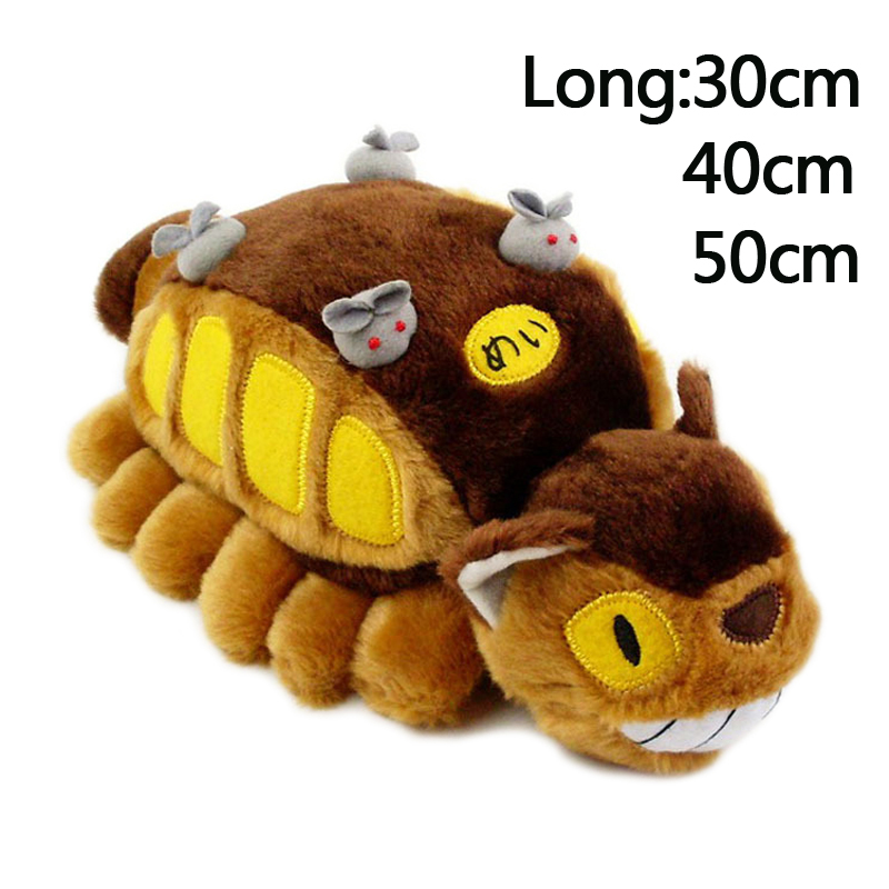 11.8-19.5 inch Studio Ghibli My Neighbor Totoro Fluffy Cat bus Toys Stuffed Soft Plush toy Animal Children birthday Xmas Gift 2017 new 6pcs stuffed animals my neighbor totoro family plush set pelucia kids toys upgrade ghibli catbus peluche