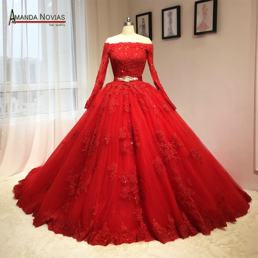 2018 Newest Red Wedding Dress Puffy Ball Gown Long Sleeves Patterns