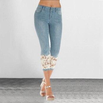Plus Size 2019 Women Light Blue Denim Crochet Lace Skinny Legs Stretch Pencil Lace Jeans Short 1