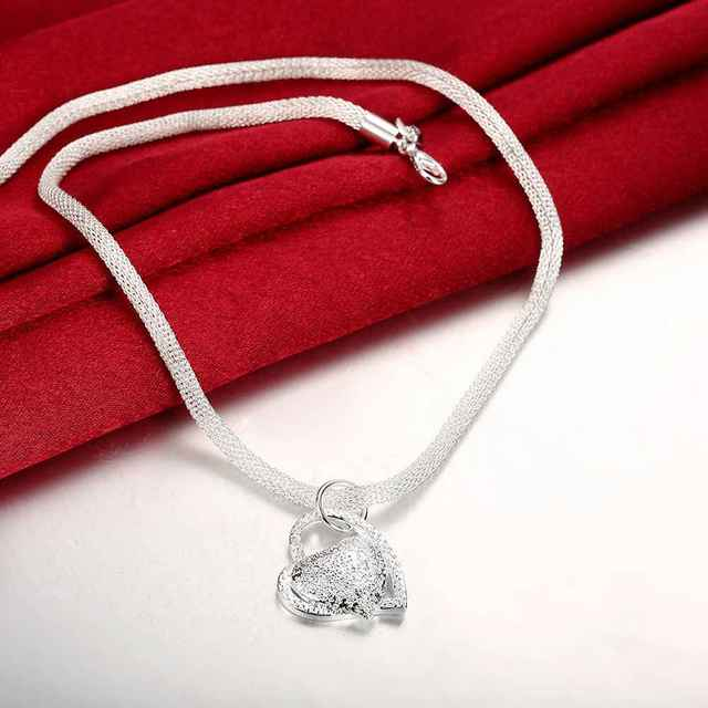 Free Shipping floating charms silver plated women necklace Inlaid Stone Heart collier femme charm SMTN270