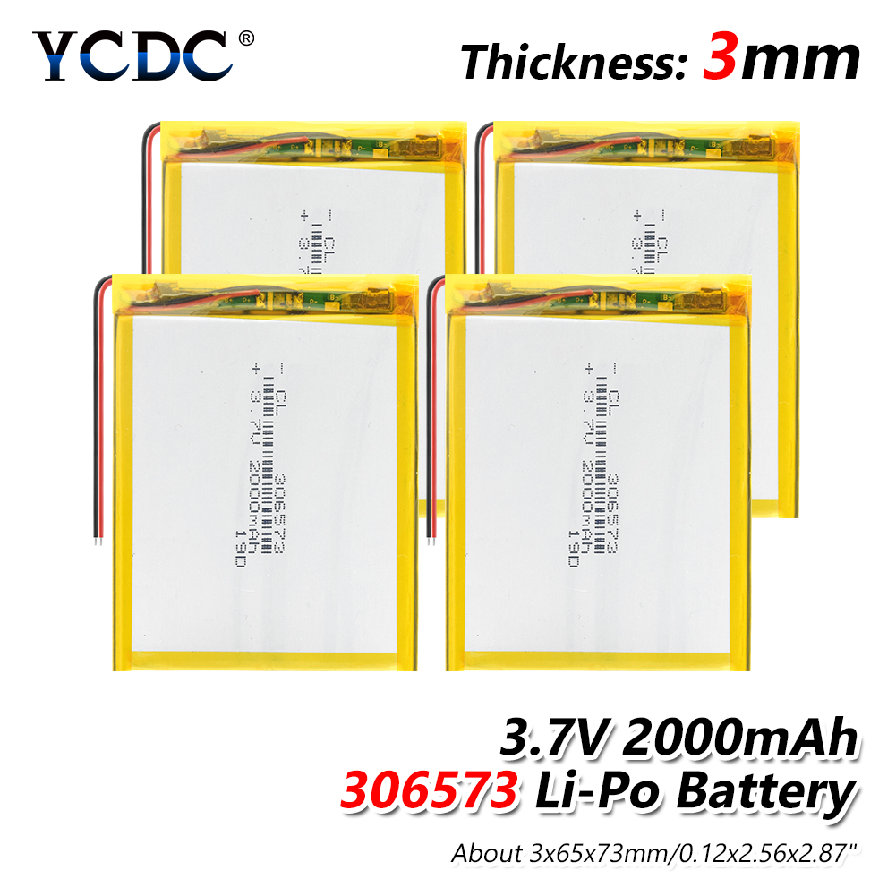 lipo polymer lithium rechargeable 1/2/4Pcs 306573 <font><b>3.7V</b></font> <font><b>2000mAh</b></font> <font><b>battery</b></font> for MP3 GPS navigator DVD recorder headset e-book camera image