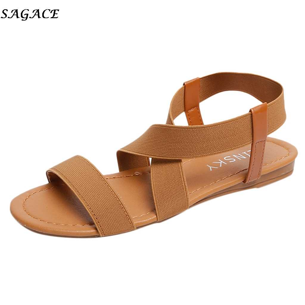 SAGACE women sandals 2019 hot fashion Women Summer Beach Roman Sandal ladies Open Toe flat sandal Casual female shoes   #30