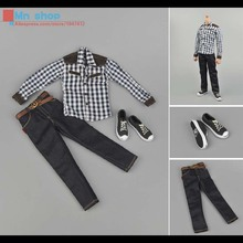 ZYTOYS ZY16-8 1/6 Action Figure Accessories Plaid Shirt + Jeans Suit Fit 12″ Male Figure Doll Toys Body In-stock