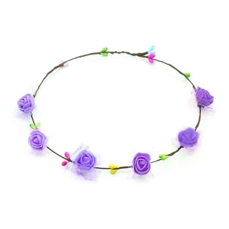 7 צבע בוהמי 6 קצף מזויף רוז פרח בגימור פו קש כלה זר זר קשת צבעוני פרח ילדה חתונה זר