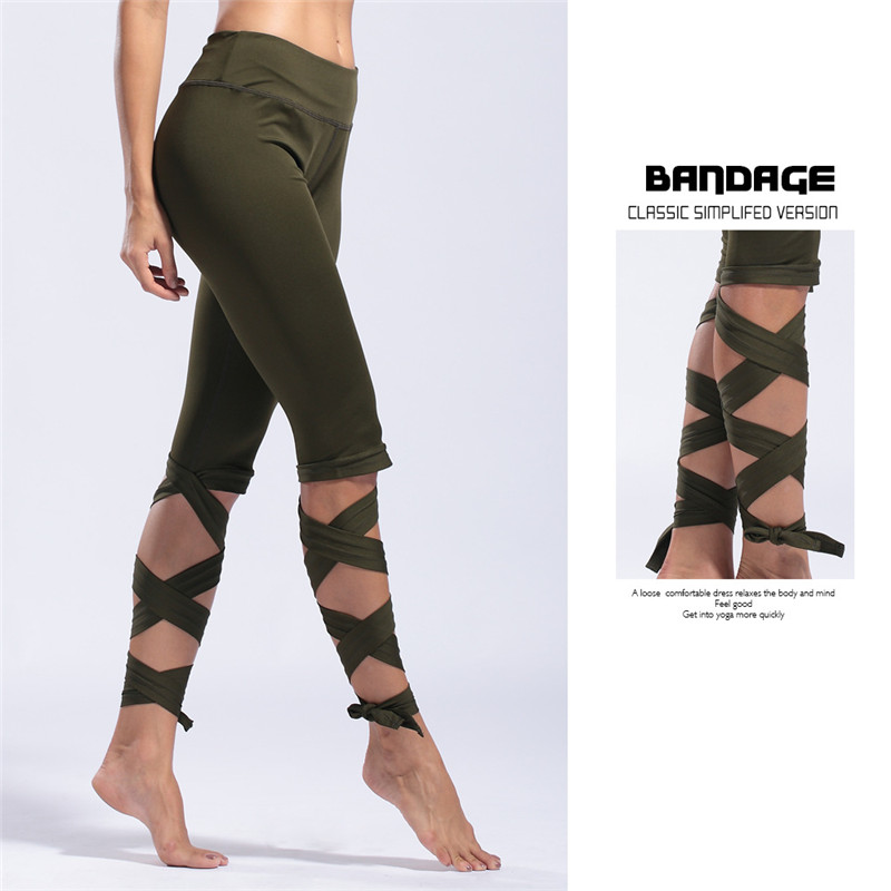 Bandage Yoga Pants Knee Length Solid Casual Athletic