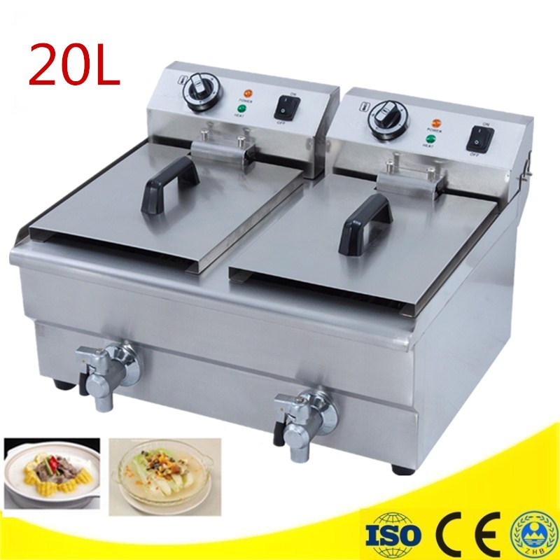 High Quality Double Electric Countertop Deep Fryer Dual Tank Stainless Commercial Restaurant Food Warmer salter air fryer home high capacity multifunction no smoke chicken wings fries machine intelligent electric fryer