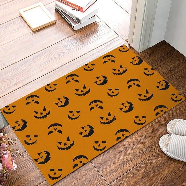 Bat Pumpkin Lantern Door Mats Kitchen Floor Bath Entrance Rug Mat Absorbent Indoor Bathroom Rubber Non Slip