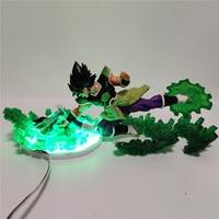 Dragon Ball Broly VS Vegeta Led Night Light Dragon Ball Super Anime Figure Green Rock Base Table lamp Lampara Dragon Ball DBZ