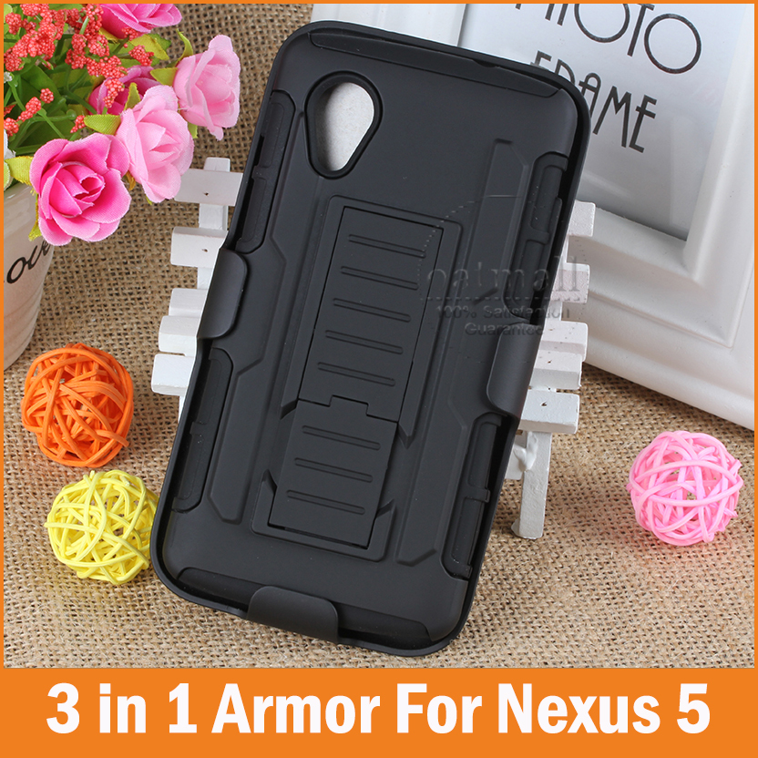 Tough Hybrid Armor For Google LG Nexus 5 Case For Google Pixel 3 2 XL Cover 3 In 1 3D Kickstand Belt Clip Military Style Bags