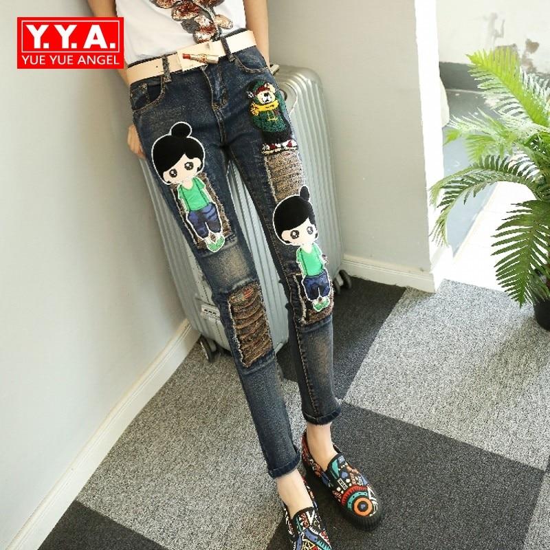 Sweet Girl Pattern Appliques Casual Women Denim Pants Pockets Design Retro Fashion Hole Ripped Long Female Trousers Plus Size