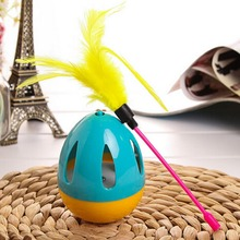 High Quality Cat Toy Feather Wand Interactive Chase Ball Tumbler for Pet Cat Kitten