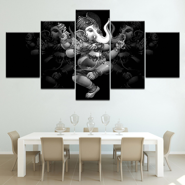 US $5.88 40% OFF|Home Decor HD Frame Poster Painting Wall Art Modern 5  Panel Hindu God Ganesha Elephant Living Room Printed Canvas Pictures-in ...