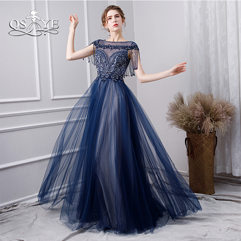 QSYYE 2019 Blue Long Prom Dresses with Beading Elegant Boat Neck Floor Length Tulle Formal Evening Dress Long Party Gowns