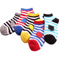 5 pairs / lot children socks 2017spring/summer cotton striped 2 - 11 years boys girls socks kids cute socks