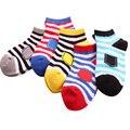 5 par/lote calcetines de los niños 2017 de primavera/verano de algodón a rayas 2-11 años niños niñas niños calcetines calcetines lindos