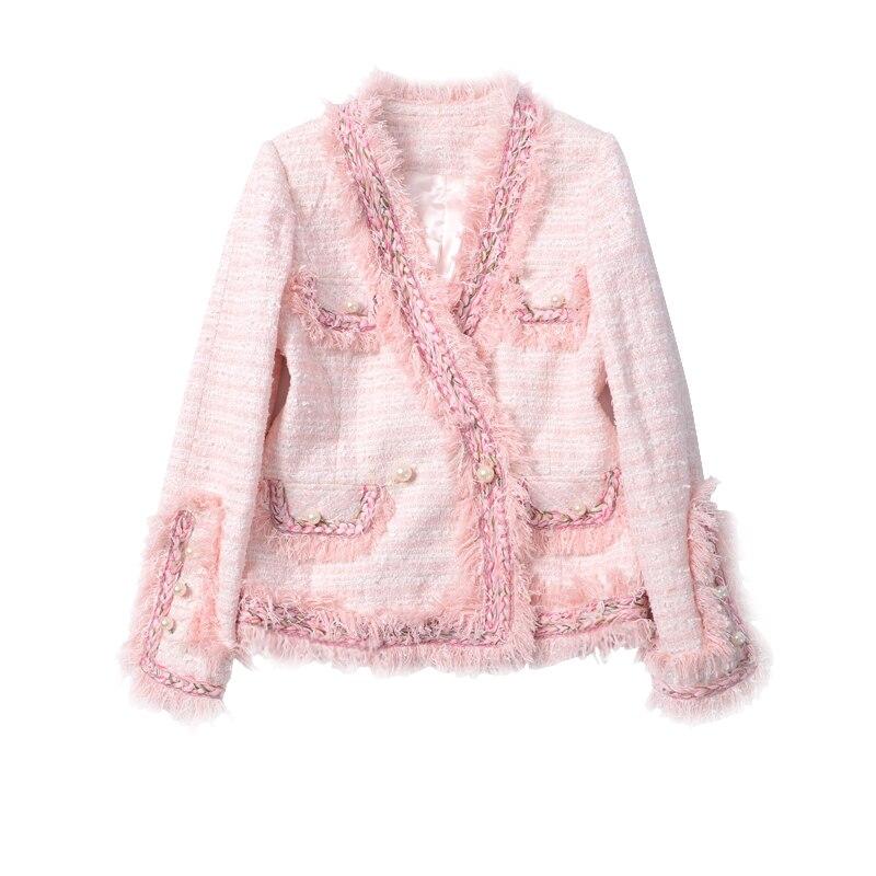 WISHBOP 2017 New Luxury Elegant Runway Sweet Pink Tweed Weave Jacket tasseled Trim V-neck Long sleeves pockets pearls detail