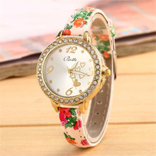 Fashion Women's WatchCrystal Leather Bracelet Quartz Wrist Watch Sport  relogio feminino dropshopping free shipping K40