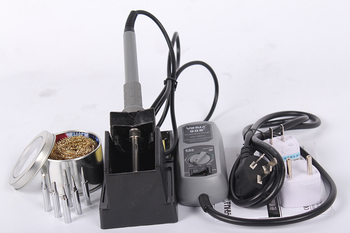 YIHUA 908+ 60W EU / US Plug Adjustable Temperature Soldering Iron ESD Safe Mini Solder Station With 5pcs Tip Holder Wholesale Electric Soldering Irons