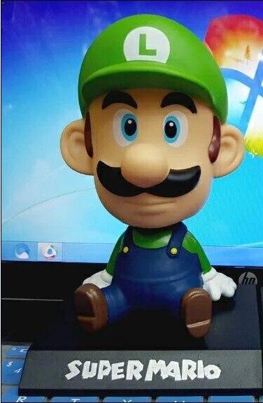 Super Mario Bros wii Луиджи Марио игрушки фигурку 1/8 шкала окрашены куклы ПВХ вечерние украшения игрушки 14 см KT3800