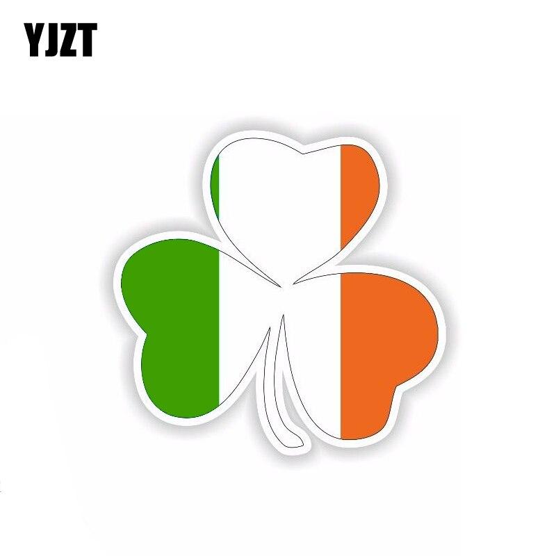 YJZT 11.4CM*11CM Car Accessories Ireland Leaf Flag Car Sticker Helmet Decal 6-1805