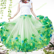 цены на 2018 New Spring and summer Plus Size 5XL Chiffon print flower  Bohemia Big Hem Female Long Maxi Skirt / faldas largas elegantes  в интернет-магазинах