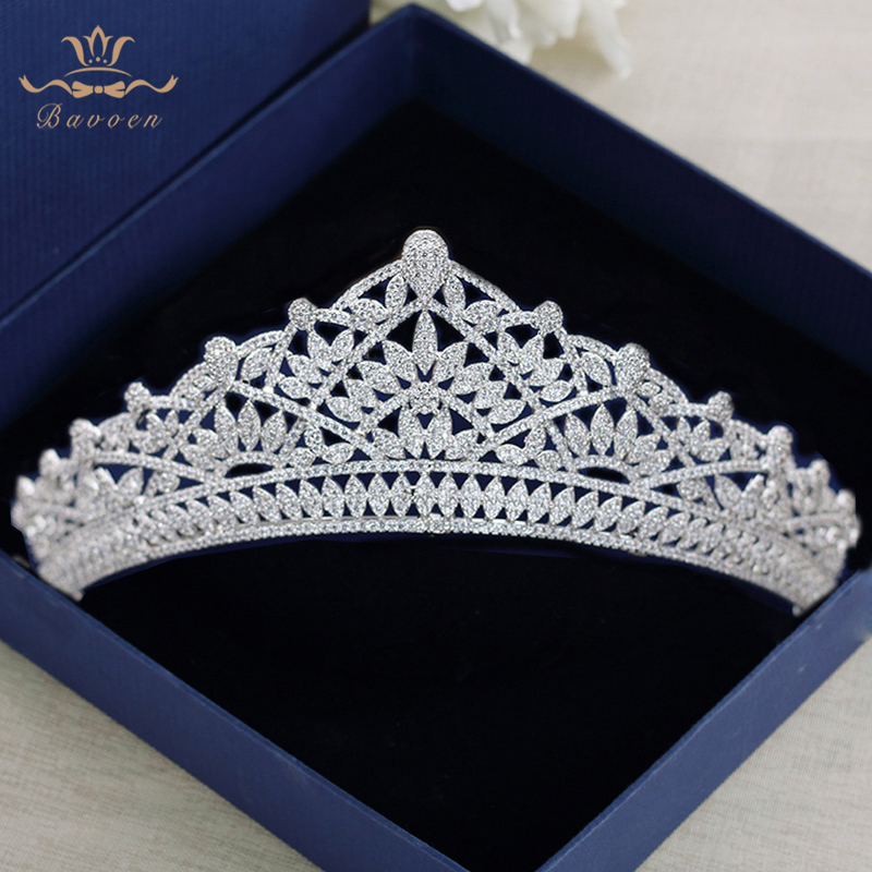 Silver Wedding Hairbands Full Zircon Crystal Brides Tiaras Crowns Royal Princess Evening Hair Jewelry Wedding Accessories high end silver wedding hairbands royal princess full zircon crystal tiaras crowns for brides evening hair accessories