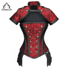 TOPMELON Steampunk Corset Gothic Steel Boned Flora Punk Bustiers Women Cut Out Chains Buttons Corselet Short Sleeve Bustier Tops