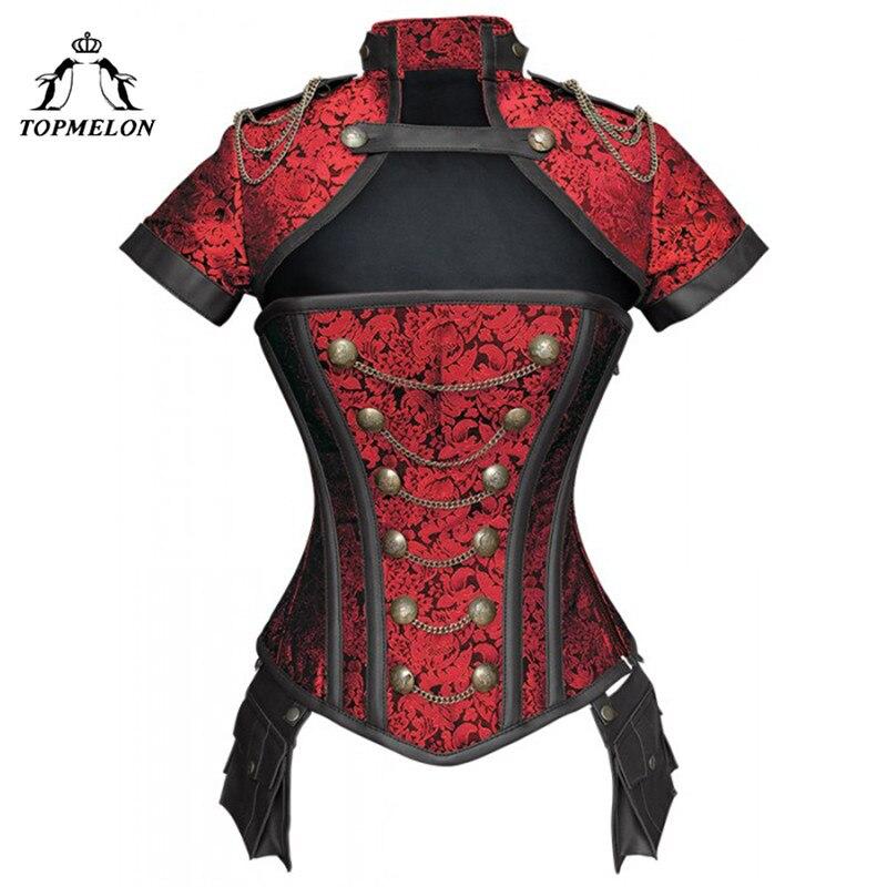 TOPMELON Steampunk   Corset   Gothic Steel Boned Flora Punk   Bustiers   Women Cut Out Chains Buttons Corselet Short Sleeve   Bustier   Tops